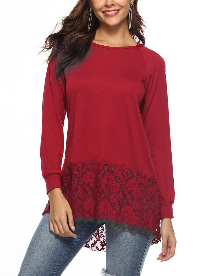 Round Neck High-Low Lace Hem Solid Color Hooded Shirt