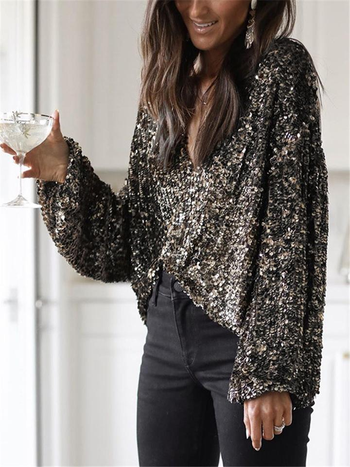 Shimmering Sequins Relaxed Fit Long Sleeve V Neck Shirt
