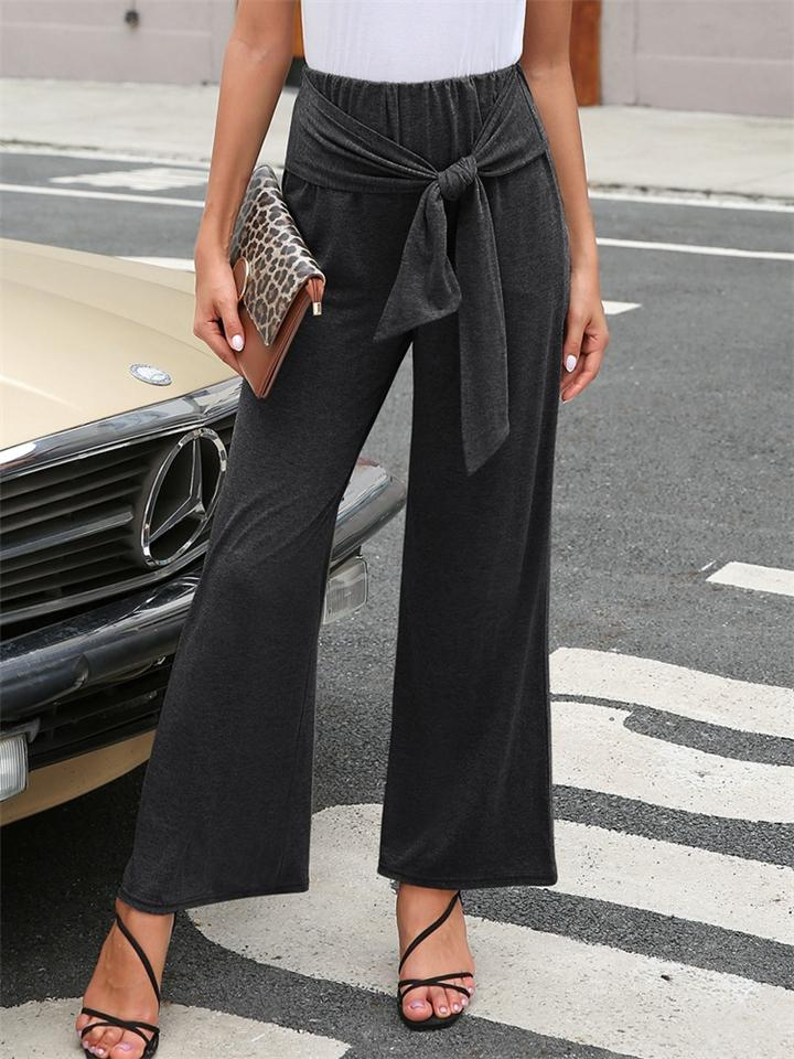 Women Knotted Elastic Waist Wide Leg Pants