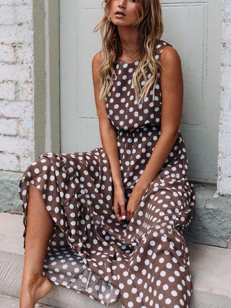 Round Neck  Polka Dots Casual Dresses