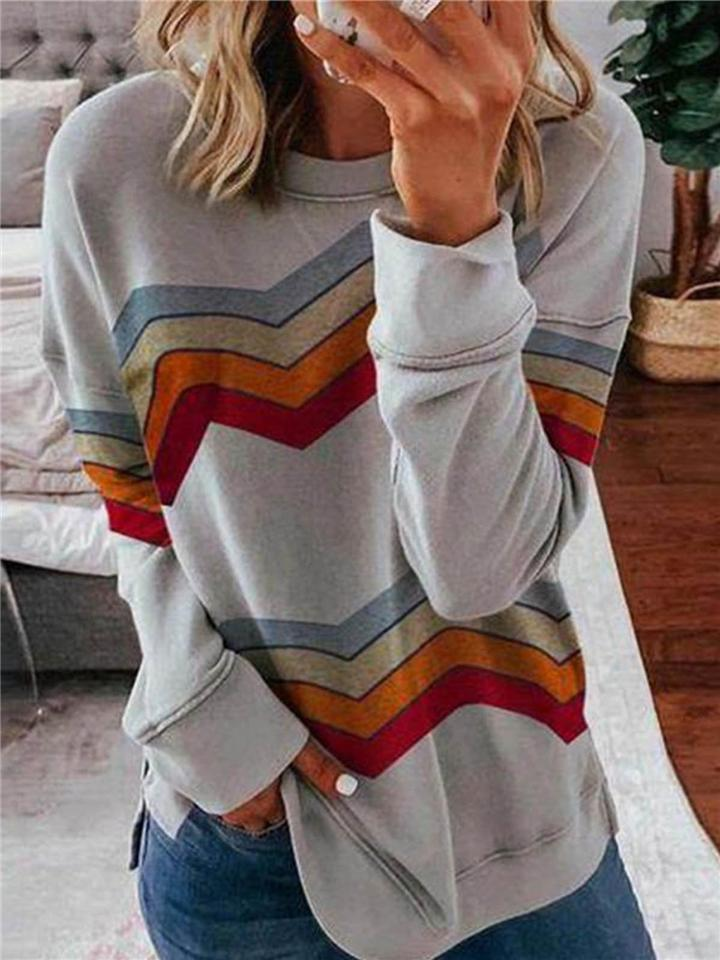 Geometric Rainbow Casual Round Neckline Long Sleeve Blouses