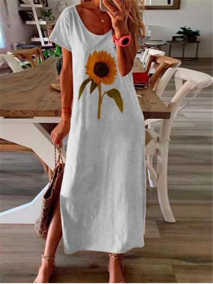 Sunflower Printed Side Slit Maxi Dress