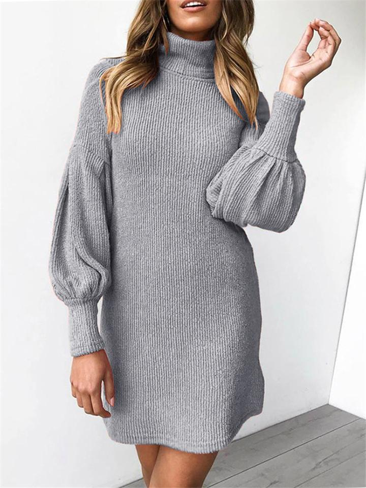 Threaded Round Neck Long Sleeve Hip Dress
