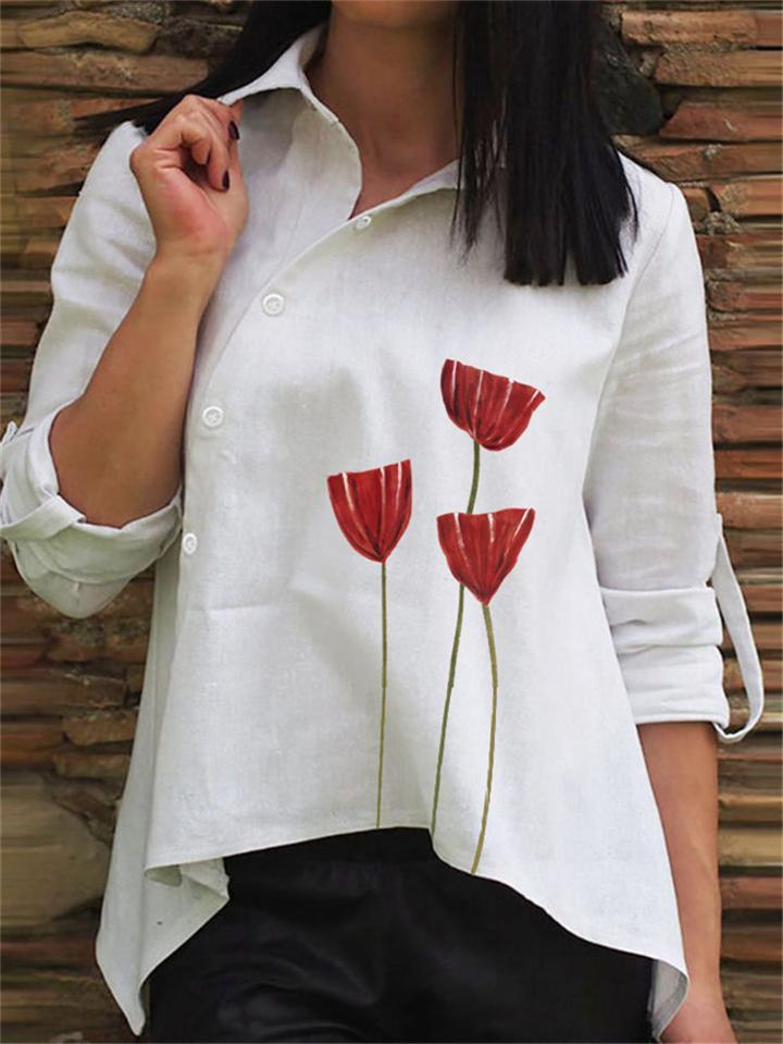 Casual Fit Asymmetric Design Button Up Long Sleeve Blouse