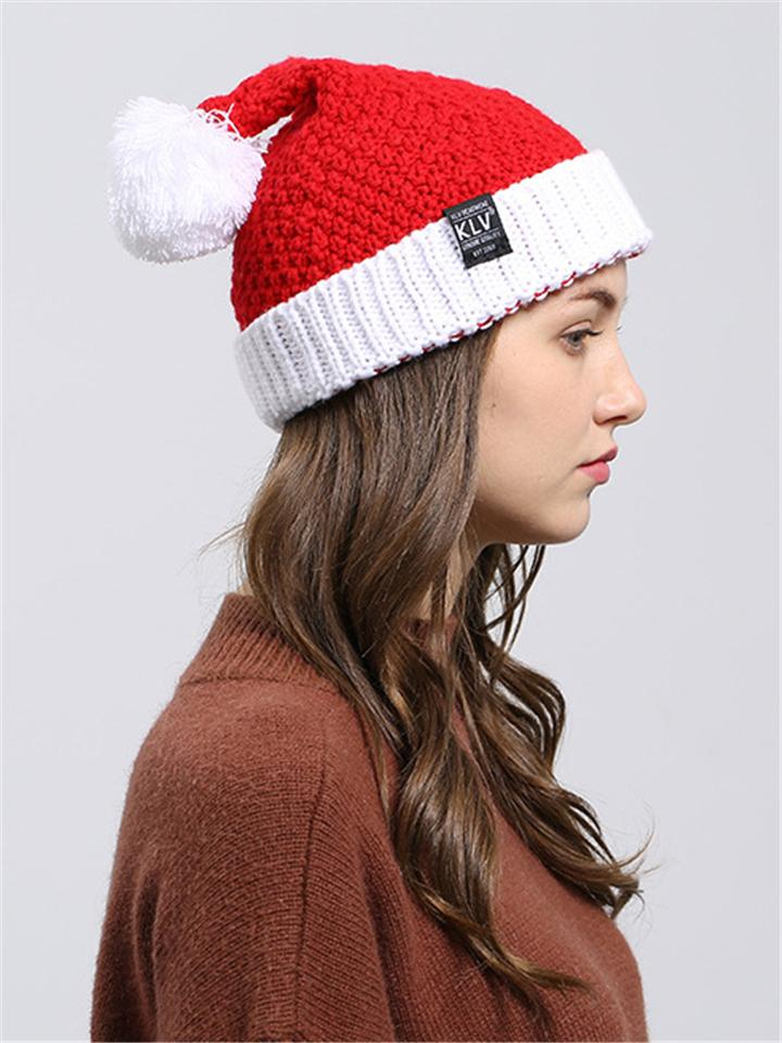 Red Winter Windproof Christmas Ski Knitted Beanie Hat