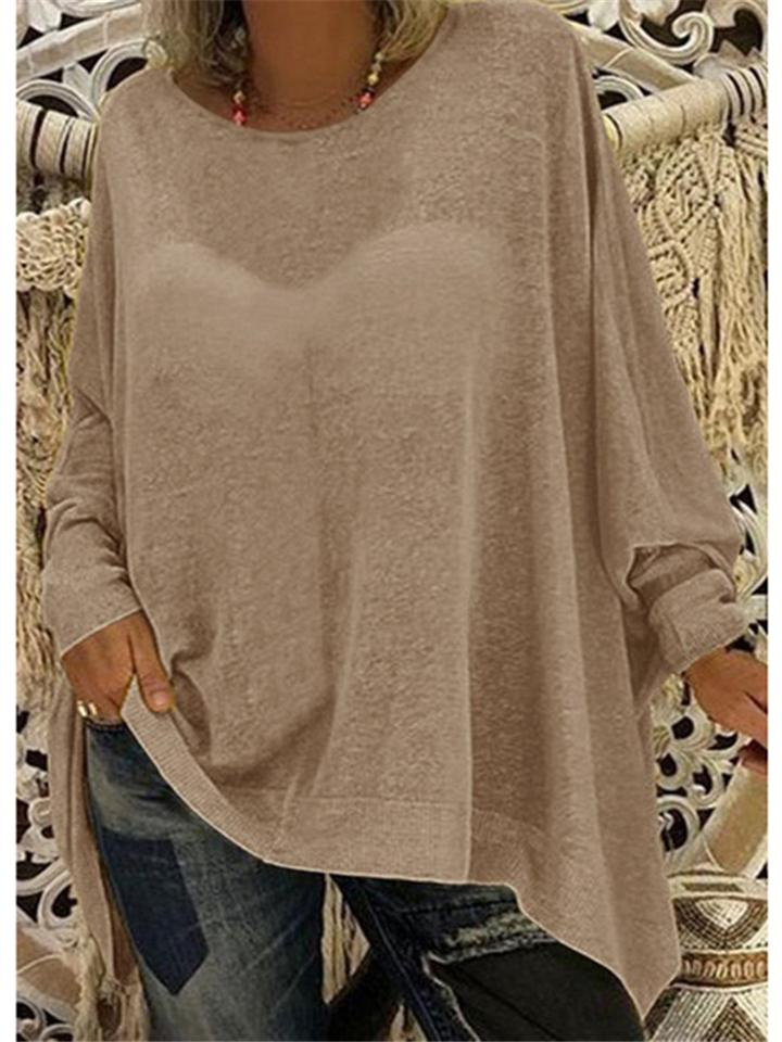 Loose Fit Round Neck Solid Color Long Sleeve Basic Tops