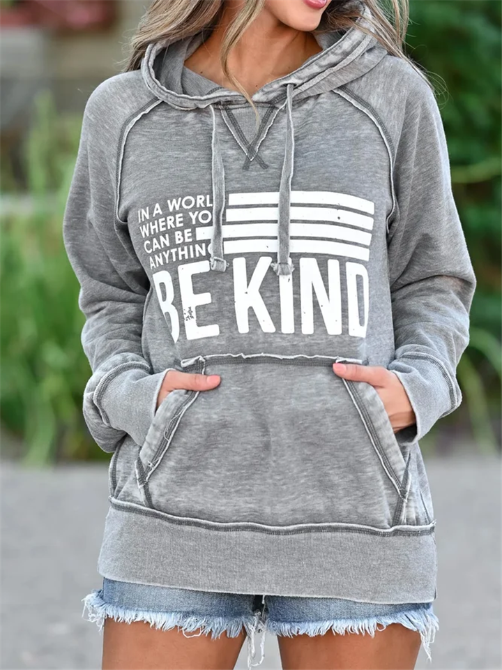 Relaxed Fit Printed Front Pocket Drawstring Hooded Sweatshirt