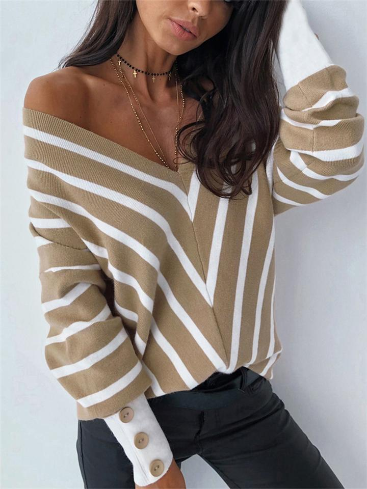 Sexy V Neck Stripe Loose Long Sleeve Knit Tops