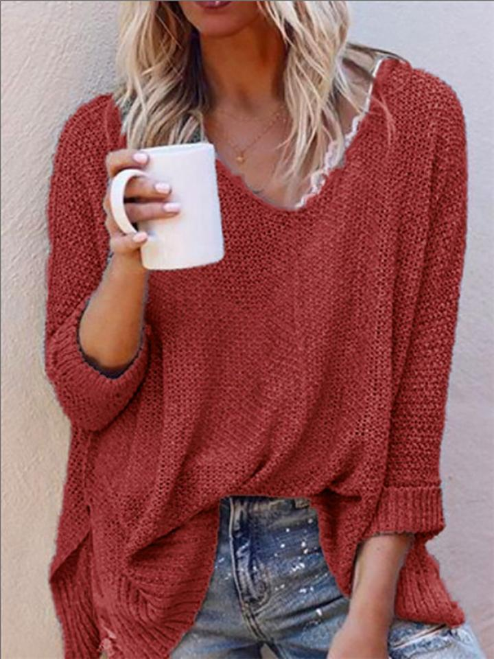 Solid Color Casual Long Sleeve V Neck Slouchy Knitted Sweaters