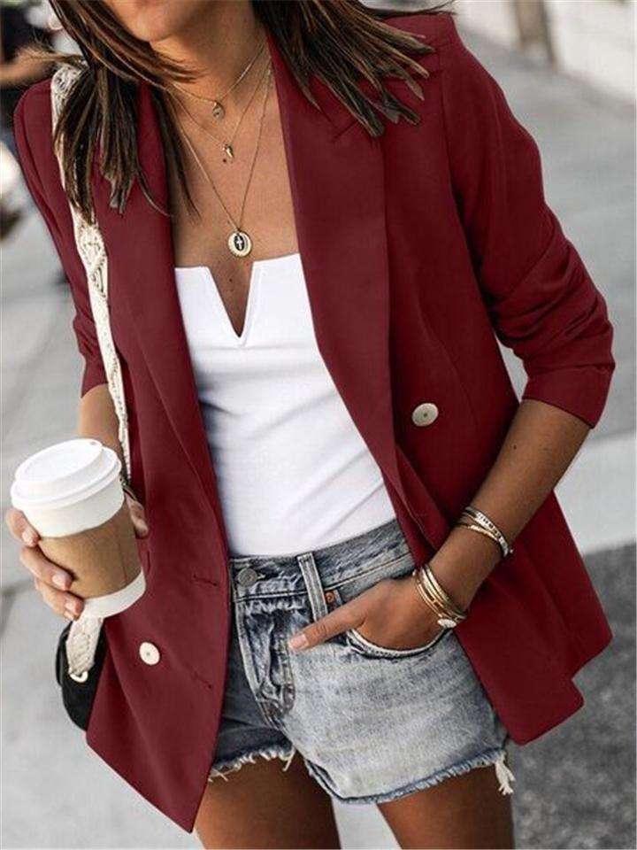 Casual Fit Lapel Collar Solid Color Button Up Blazer Coat