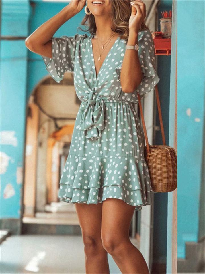 Women's Sweet Green Color Deep-V Dots Dresses