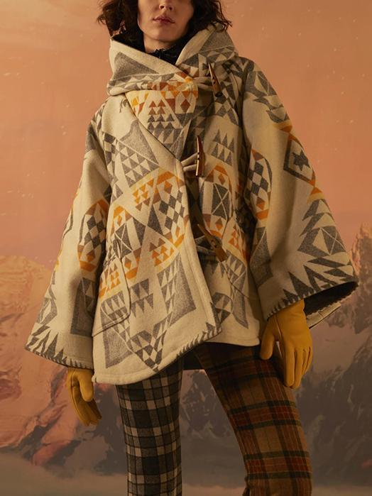 Loose Casual Printed Woolen Overcoat For Women