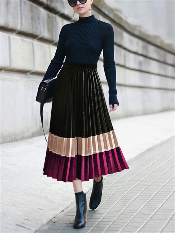Retro Colorblock High Waist Pleated Maxi Skirt