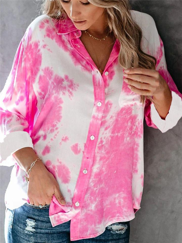 Tie-Dye Button Long Sleeve Casual Blouses For Women