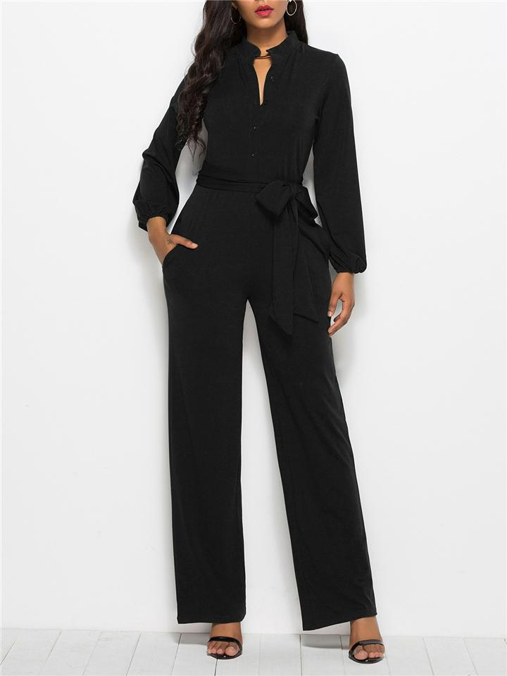 Fashion Minimalist Solid Color Long Sleeve Lace-up Waist Jumpsuits