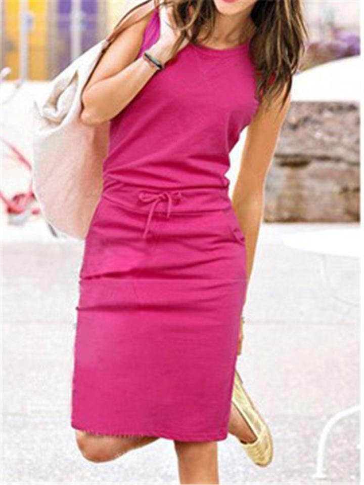 Sleeveless Lace Up Waist Round Neck Dress
