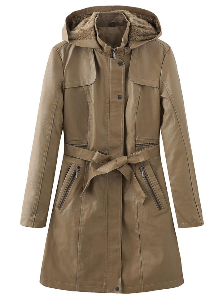 Fashion Chic Leather Plush Lined Trench Coat With Waistband