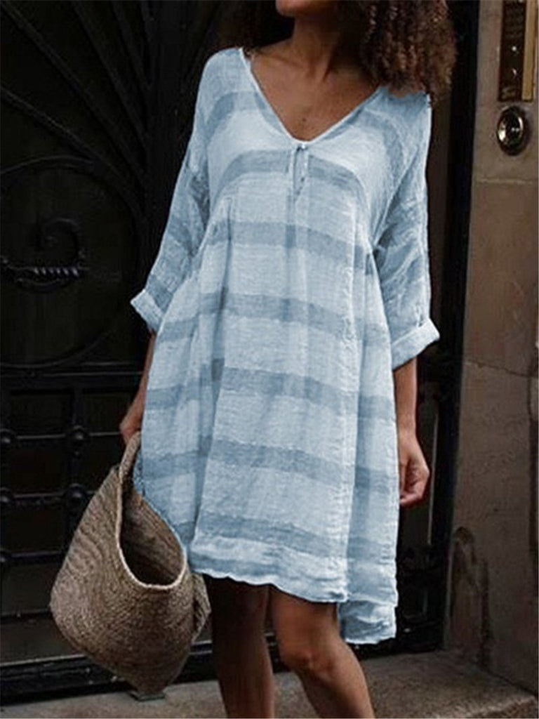 Soft Striped Long Sleeve V-neck Dress