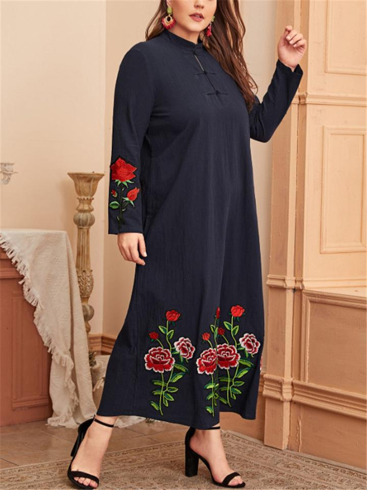 Vintage Exotic Cotton Linen Embroidery Floral Long Sleeve Dress