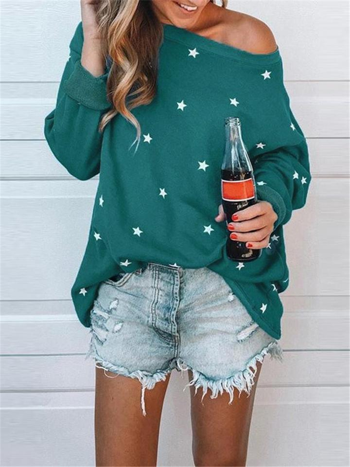 Casual Star Print Long Sleeve T-Shirt For Women