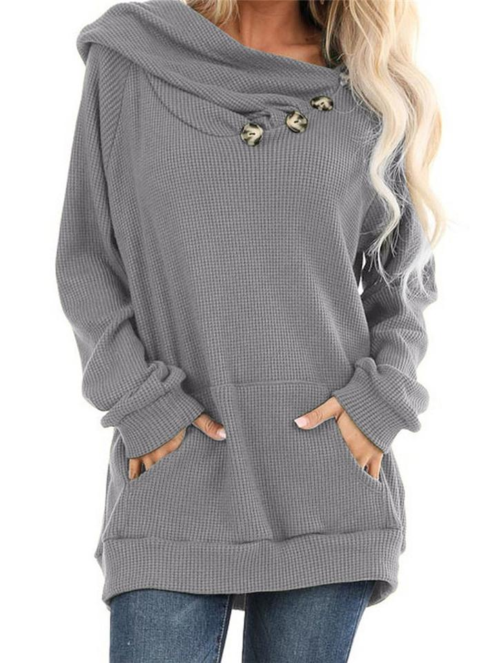 Relaxed Fit Front Pocket Button Deco Knitted Sweater with Hood