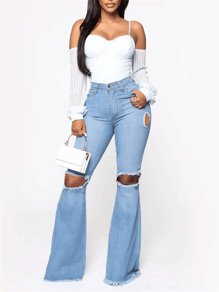 Sexy Fashion High-waisted Ripped Jeans