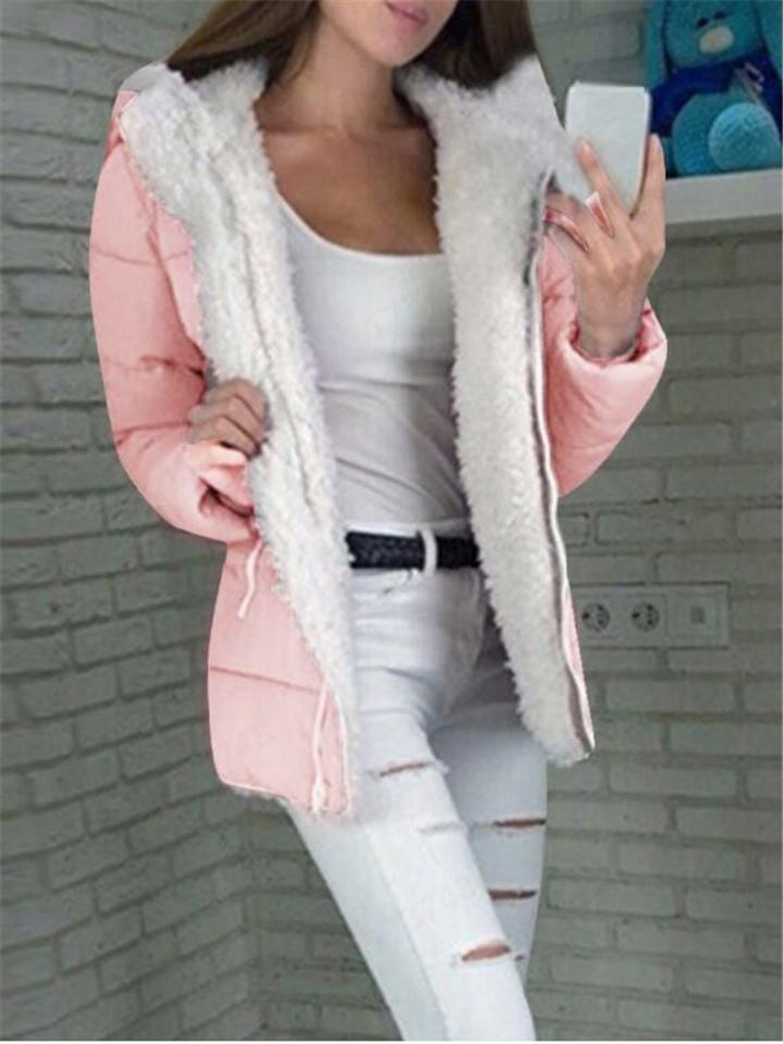 Ultra Warm Fur Interior Full Zip Up Solid Color Hooded Cotton Coat