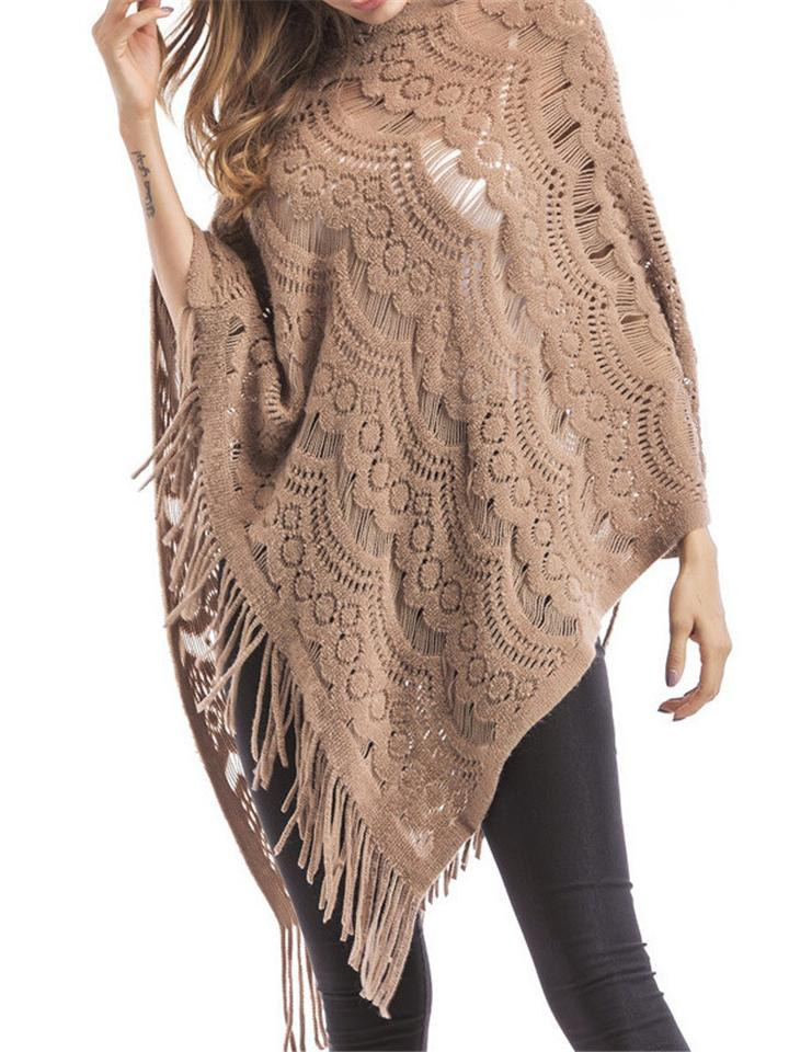 Women's Tassel Batwing Asymmetrical Hollow Out Pullover Cloak