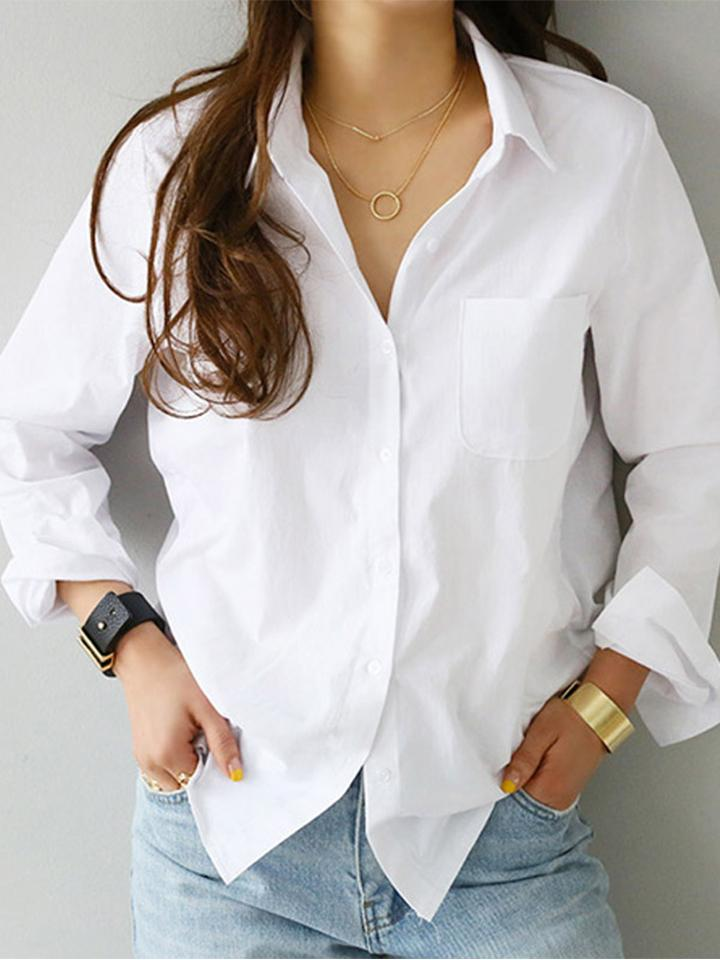 Stand Collar Stylish White  Long Sleeve Shirts For Women