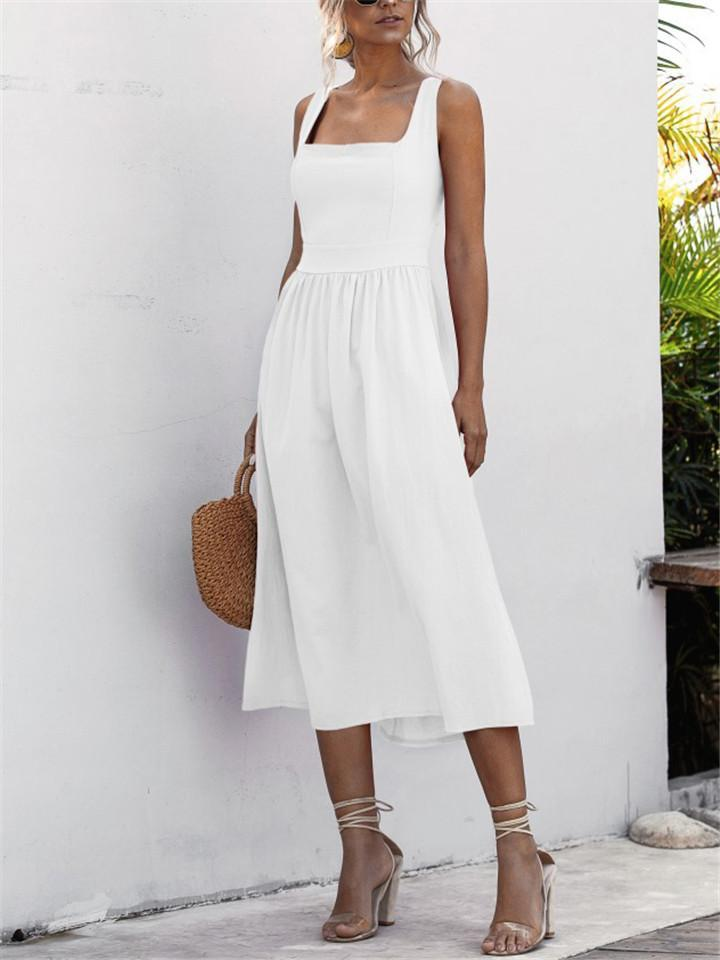 Square Neck Backless Sexy Slip Dress