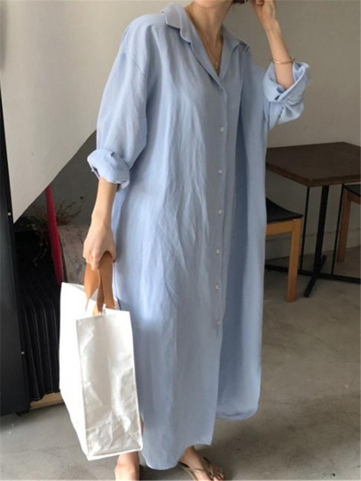 Relaxed Casual Solid Color Cotton Linen Long Button Blouses