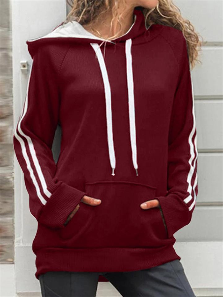 Women Autumn  Casual Loose Solid Color Splice Long Sleeve Hoodies with Pockets