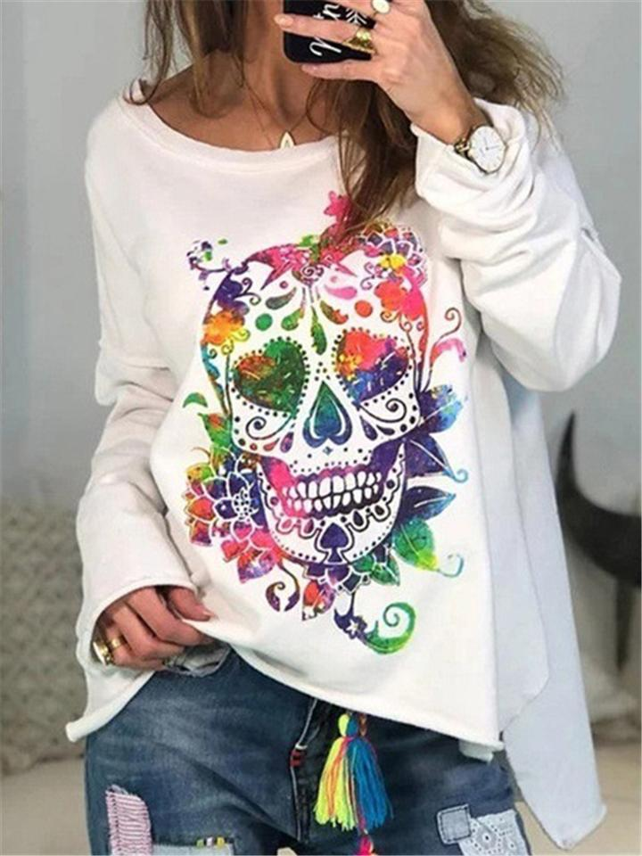 Women's Casual Skull Printed T-Shirt Loose Pullovers