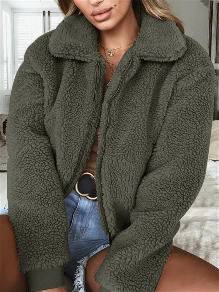 Comfy Furry Turn Collar Zipper Coat
