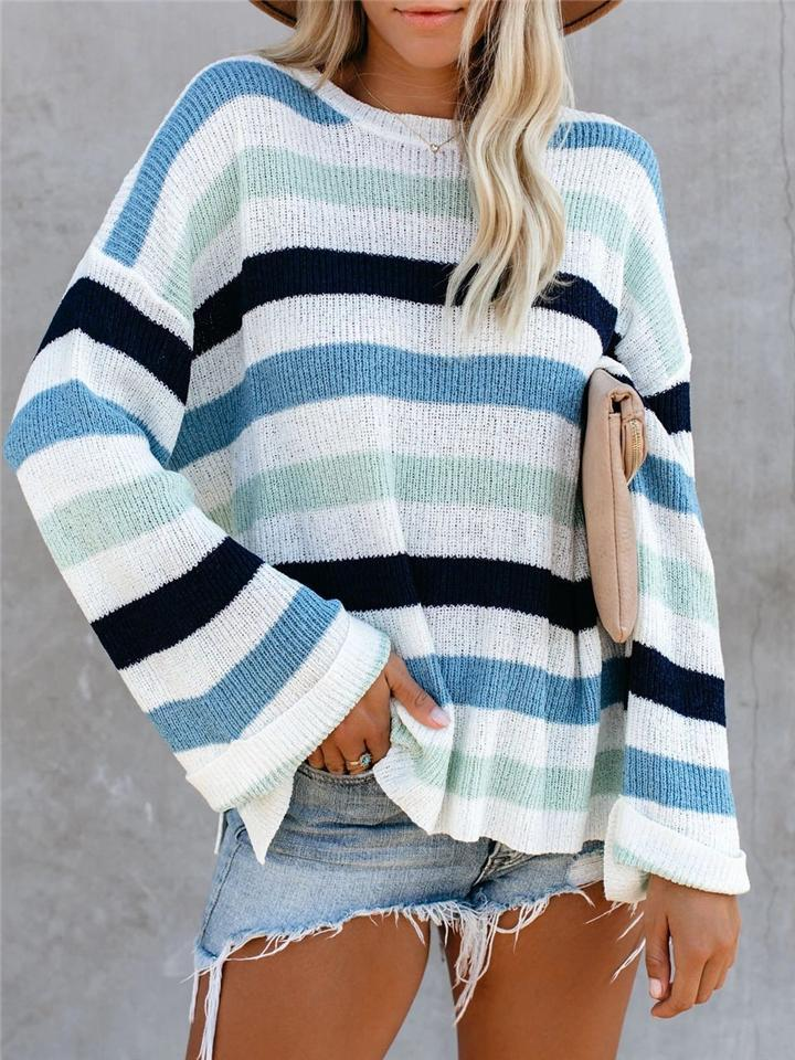 Casual Style Striped Round Neck Long Sleeve Knitted Sweater