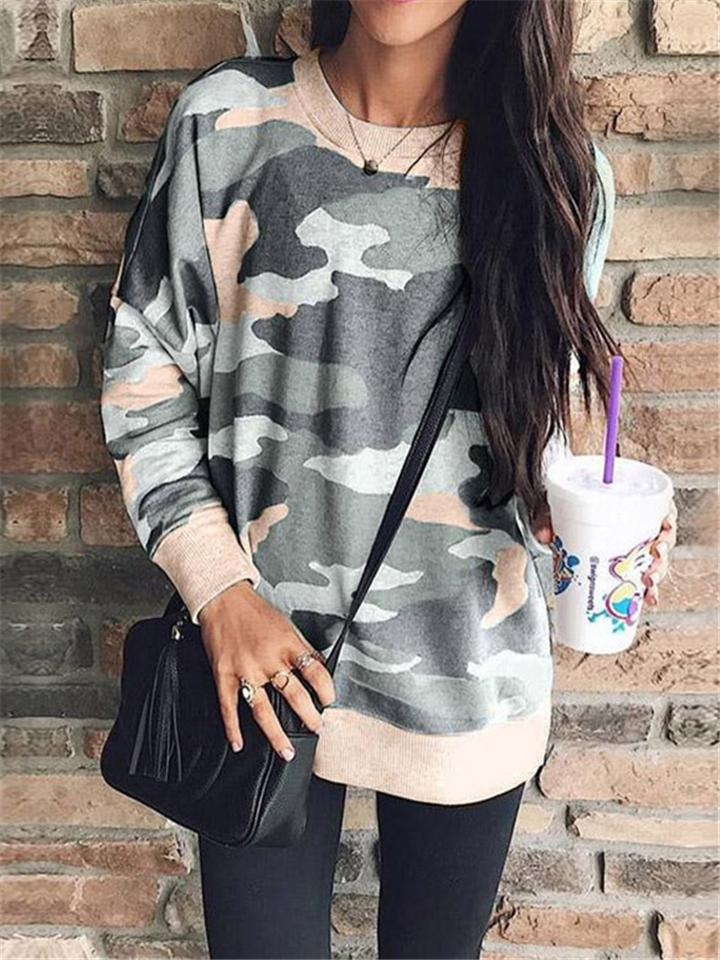 Stylish Cool Camouflage Printed Loose Long Sleeve Crew Neck Blouse For Women