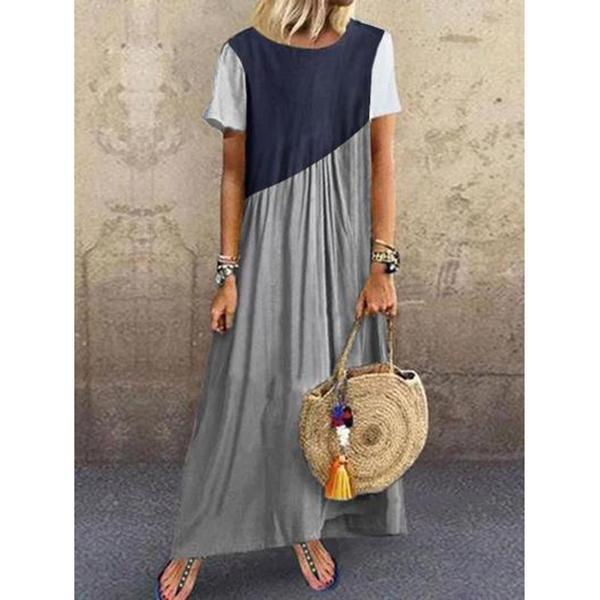 Women Shift Short Sleeve Color-Block Paneled Dresses