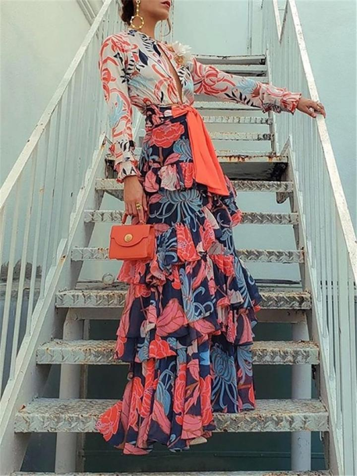 Vintage Floral Printed Long Sleeve V Neck Chiffon Tiered Maxi Dress