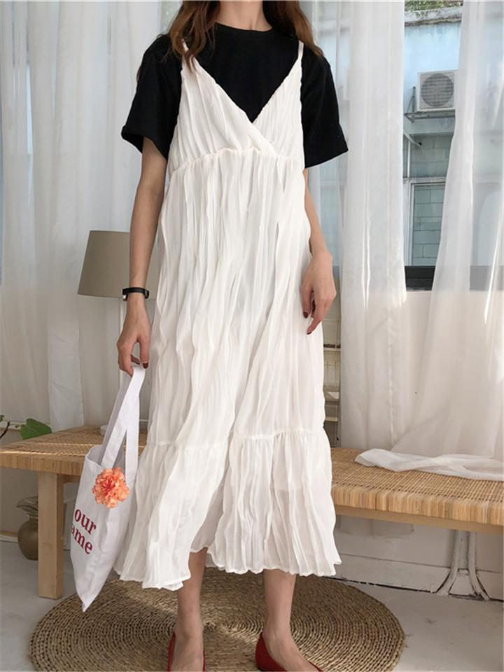 Stylish Cute Halter Loose High Waist Pleated Maxi Dress