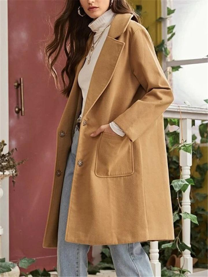 Loose Fit Notched Lapel Collar Button Up Woolen Coat