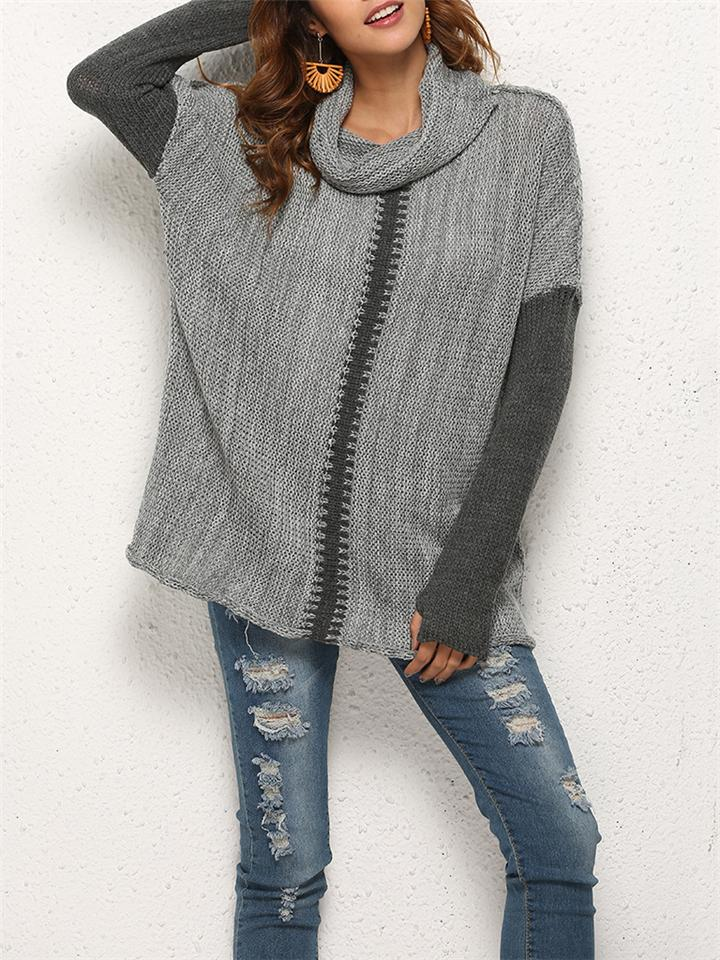 Casual Loose Turtle Neck Long Sleeve Sweater For Women