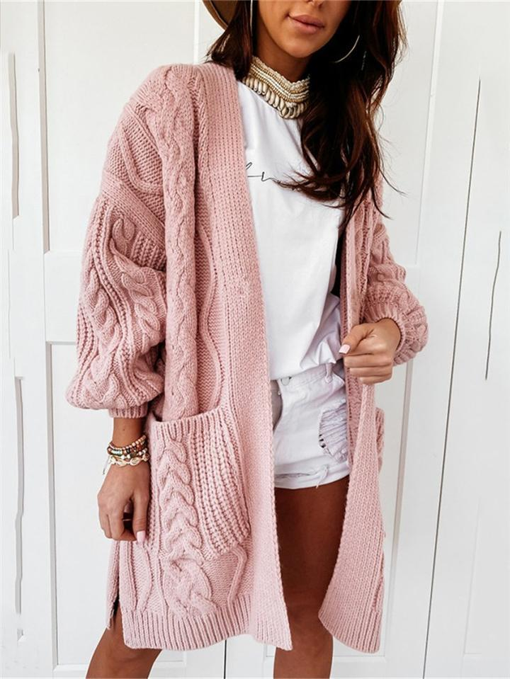 Soft Touch Stretchy Woolen Cable Knit Sweater Cardigan