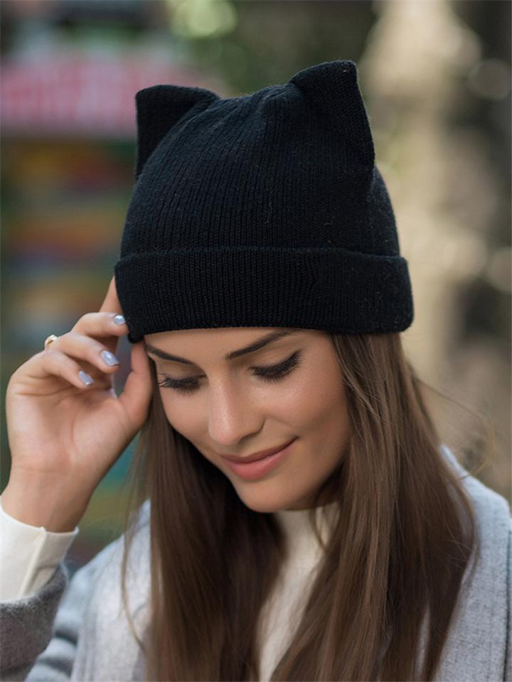 Cute Catgirl Wool Knitted Hat