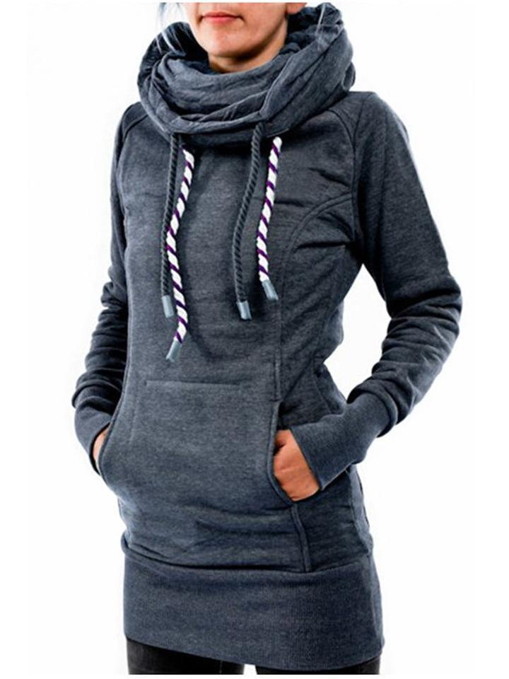 Slim Fit Front Pocket Drawstring Hooded Pullover Sweatshirt
