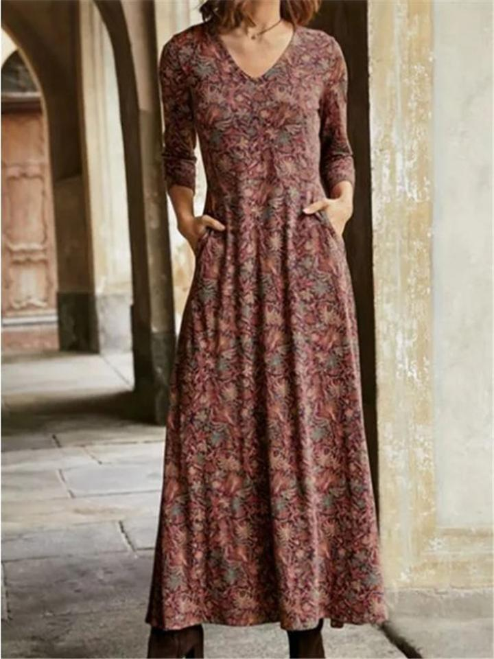 Vintage Style V Neck Floral Printed Thicken Long Dress