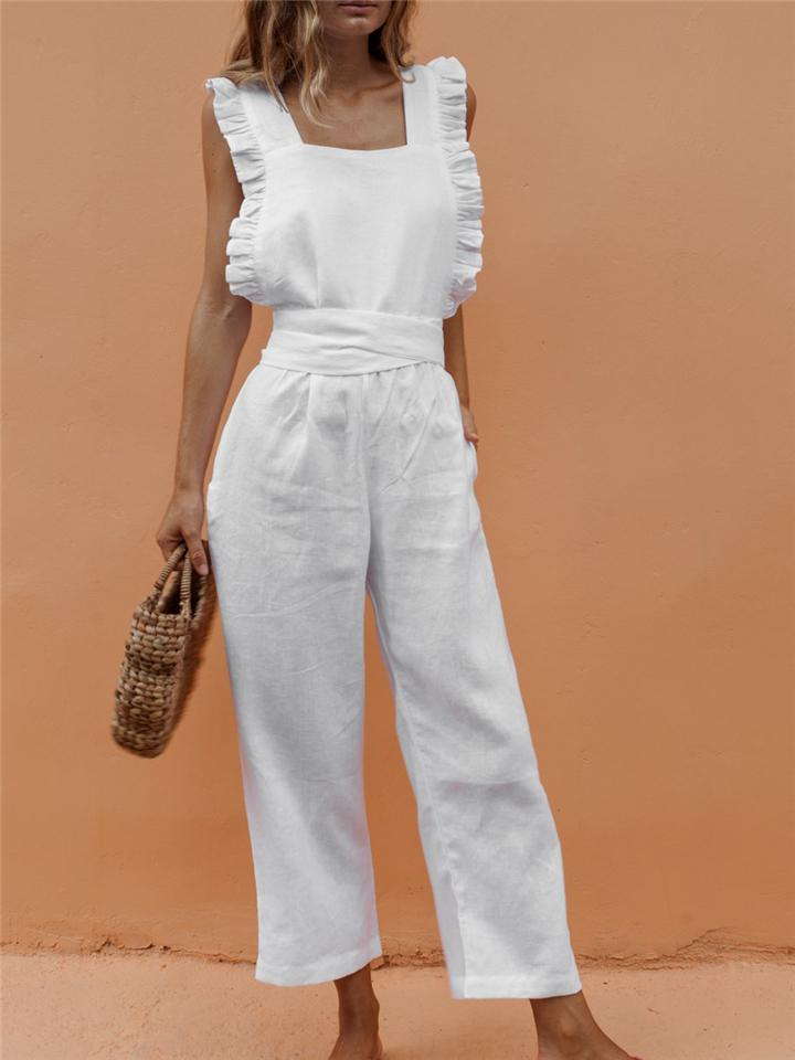 Women Sleeveless Ruffled Wide Leg Overalls Bow Backless Jumpsuit With Sashes