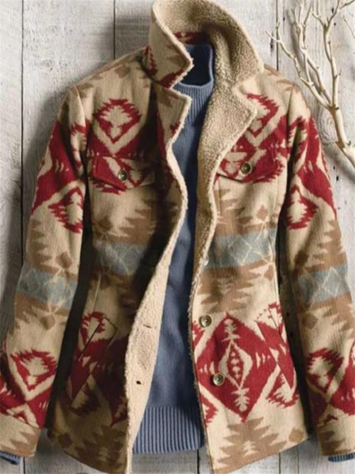 Vintage Printed Turn Collar Casual Woolen Coats