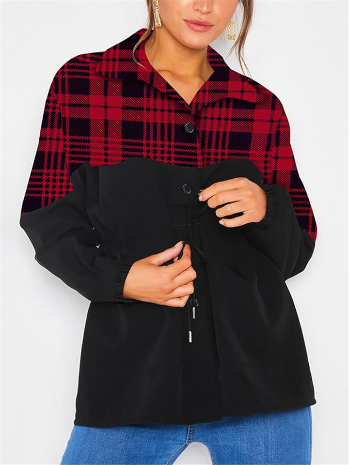 Fashion Casual Plaid Patchwork Buttons Tie Waist Outerwear