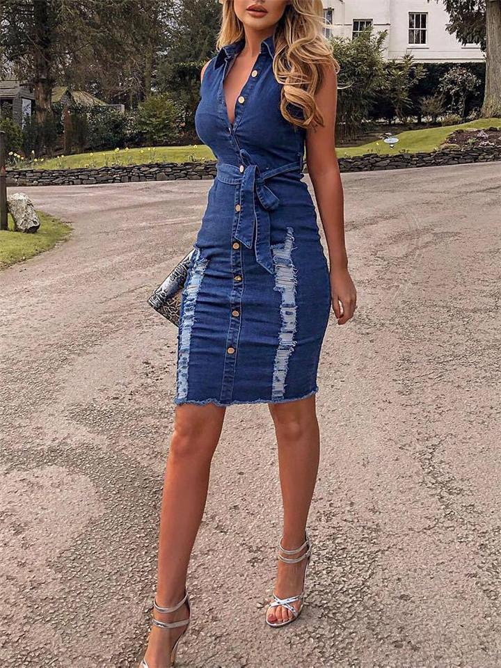 Sexy Sleeveless Ripped Denim Dress