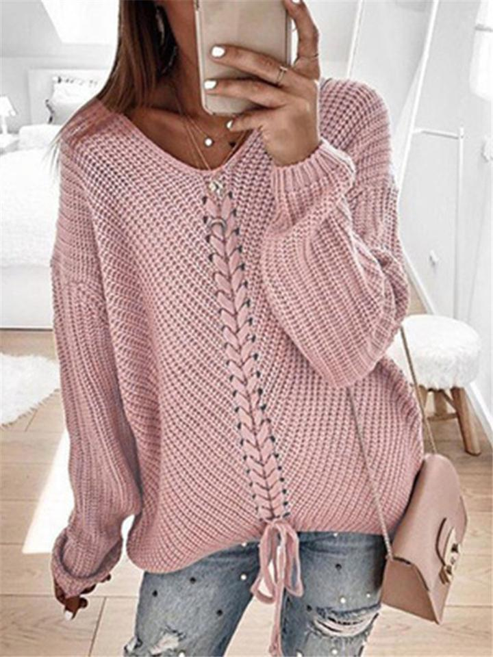 Relaxed Fit Front Lace-up Ornament Sweater For Women